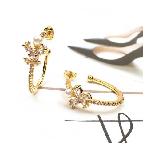 Nihaojewelry Mode Zirkon Schmetterling Perlen Ohrringe Großhandel Schmuck NHPY383686's discount tags