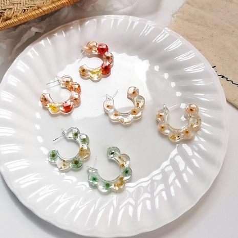 Nihaojewelry wholesale jewelry retro C-shaped transparent flower acrylic earrings  NHMS383777's discount tags