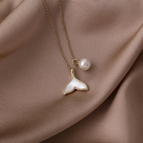 Großhandel Schmuck weiße Muschel Perle Fischschwanz Kupfer Halskette Nihaojewelry NHMS383794's discount tags
