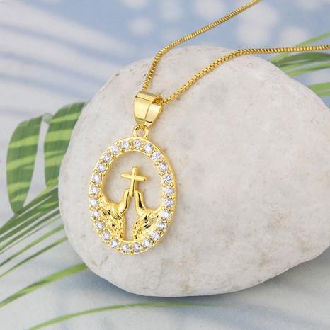 Großhandel Schmuck einfache ovale Kreuz Anhänger Kupfer eingelegte Zirkonium Halskette nihaojewelry NHBP383825's discount tags