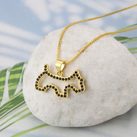 Großhandel Schmuck einfacher Hund Anhänger Kupfer eingelegte Zirkonium Halskette nihaojewelry NHBP383826's discount tags