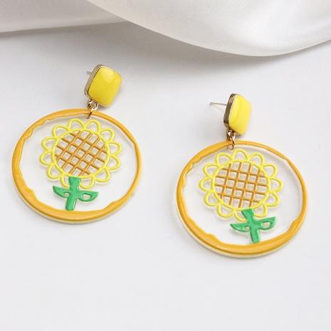 Nihaojewelry cute sunflower geometric acrylic earrings wholesale jewelry NHNZ383830's discount tags