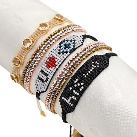 Nihaojewelry wholesale jewelry diamond-studded rose gold multi-layered Miyuki beads bracelet  NHGW383944's discount tags