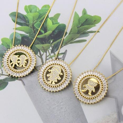 Großhandel Schmuck Mode runden Diamant Anhänger Kupfer eingelegte Zirkon Halskette nihaojewelry NHBP383977's discount tags