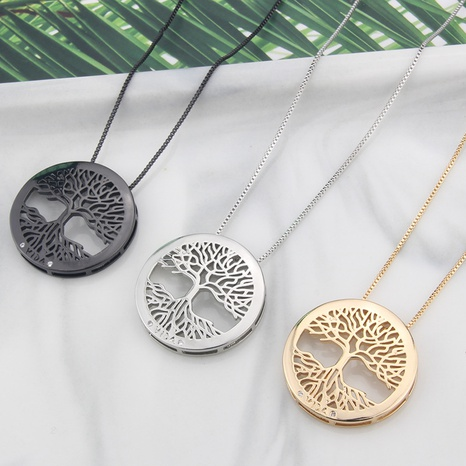 Großhandel Schmuck einfacher Baum des Lebens Anhänger Kupfer eingelegte Zirkon Halskette nihaojewelry NHBP383976's discount tags