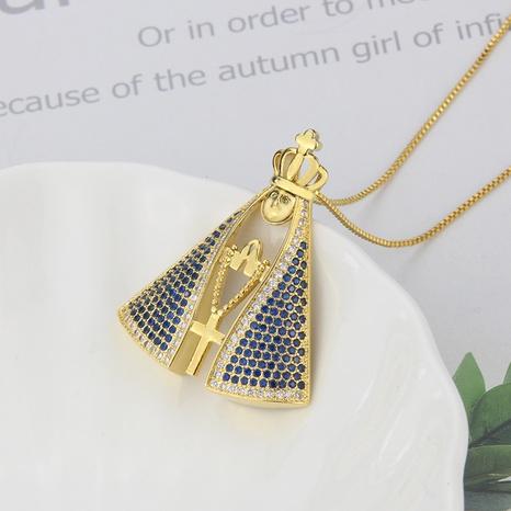Großhandel Schmuck einfache große Jungfrau Anhänger Kupfer eingelegte Zirkon Halskette nihaojewelry NHBP383978's discount tags