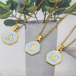 wholesalejewelry fashion hexagonal blue shell 26 letter pendant stainless steel necklace nihaojewelry  NHBP383979