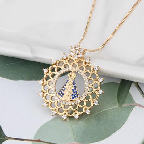 Großhandel Schmuck einfache Jungfrau runder Anhänger Kupfer eingelegte Zirkon Halskette nihaojewelry NHBP383985's discount tags