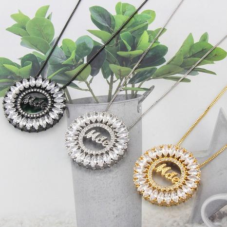 Großhandel Schmuck Mode Multicolor Diamant Runde Anhänger Kupfer Halskette nihaojewelry NHBP383986's discount tags