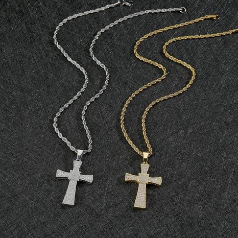 Großhandel Schmuck Kreuz Zirkon Anhänger Kupfer Halskette Nihaojewelry NHHF384047's discount tags