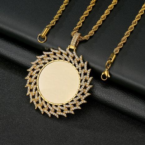Großhandel Schmuck runder Zirkon Anhänger Kupferhalskette Nihaojewelry NHHF384056's discount tags