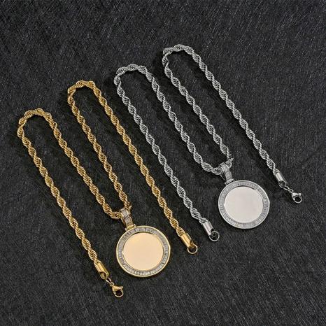Großhandel Schmuck runde mikroeingelegte quadratische Zirkonkupferhalskette Nihaojewelry NHHF384058's discount tags
