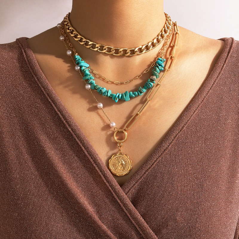 Nihaojewelry Wholesale Jewelry New Bohemian Portrait Pendant Turquoise Pearl Multilayer Necklace NHGY384629
