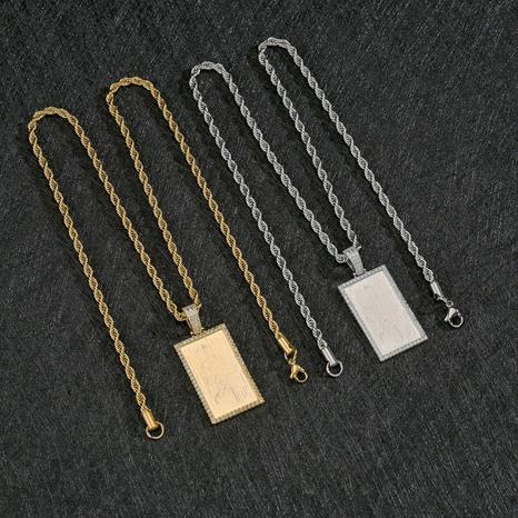Großhandel Schmuckrechteckige Marke Anhänger Kupfer Halskette Nihaojewelry NHHF384127's discount tags