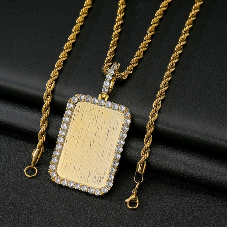 Großhandel Schmuck einfache quadratische Ecke Zirkon Kupfer Halskette Nihaojewelry NHHF384128's discount tags