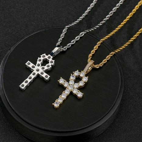 Großhandel Schmuck Rundkopf Kreuz Runde Zirkon Kupfer Halskette Nihaojewelry NHHF384132's discount tags