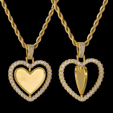 Großhandel Schmuck rotierendes Herz Kupferhalskette Nihaojewelry NHHF384141's discount tags