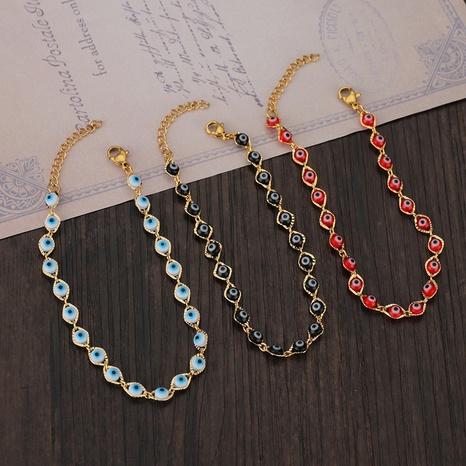 Nihaojewelry venta al por mayor joyería simple ojo colorido acero inoxidable pulsera NHHF384145's discount tags