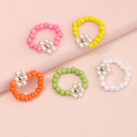 Nihaojewelry bijoux en gros simples perles rondes couleur bague pour enfants NHNU384620's discount tags
