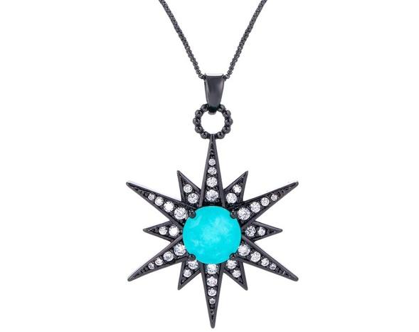 Nihaojewelry wholesale jewelry Meteor Green Crystal Pendant Zircon Necklace NHWG383499's discount tags