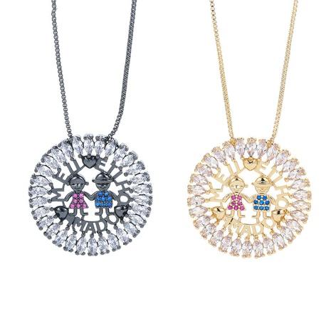 Nihaojewelry Großhandel Schmuck einfache Mikro-Intarsien farbige Zirkon Jungen und Mädchen Anhänger Halskette NHWG383500's discount tags
