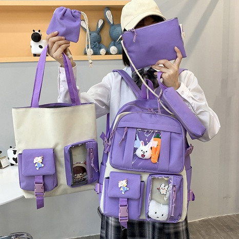 wholesale large-capacity doll pendant five-piece backpack Nihaojewelry NHTG384237's discount tags