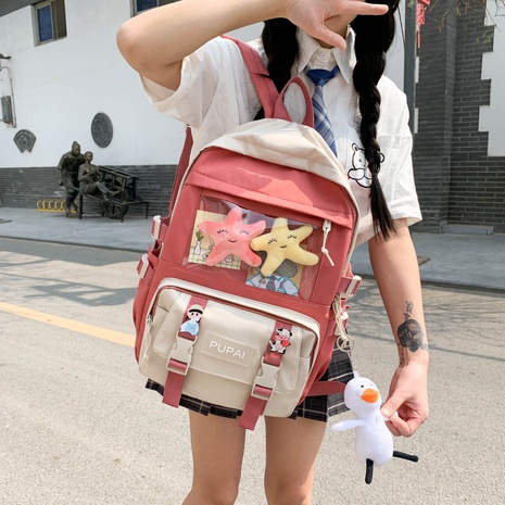 wholesale clashing color large-capacity duck doll pendant backpack Nihaojewelry NHTG384241's discount tags