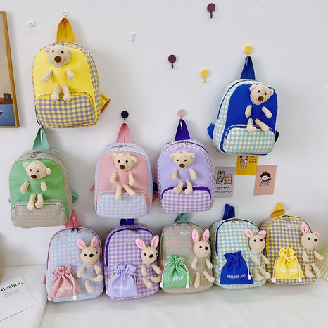 wholesale children's plaid bunny doll backpack Nihaojewelry NHTG384249's discount tags