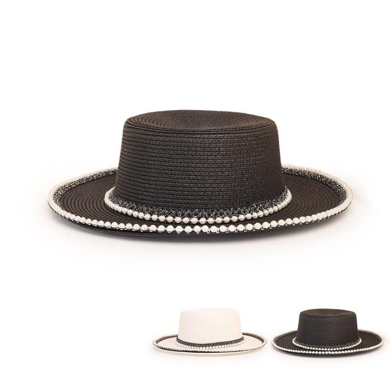 wholesale fashion widebrimmed pearlrim flat straw hat nihaojewelry  NHTQ384322