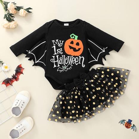 wholesale Patrón de Halloween de manga larga para niños, mameluco, falda corta, traje de dos piezas nihaojewelry NHLF384487's discount tags
