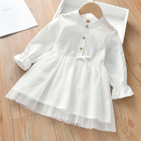 wholesale vestido casual blanco de manga larga para niños, una línea Nihaojewelry NHLF384492's discount tags