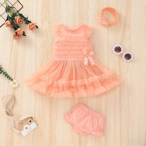 Nihaojewelry lindo vestido de bebé de manga corta conjunto de dos piezas al por mayor NHLF384500's discount tags
