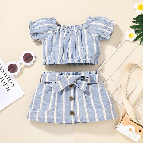 Nihaojewelry conjunto de dos piezas de falda de una línea de tops de bebé a rayas al por mayor NHLF384507's discount tags