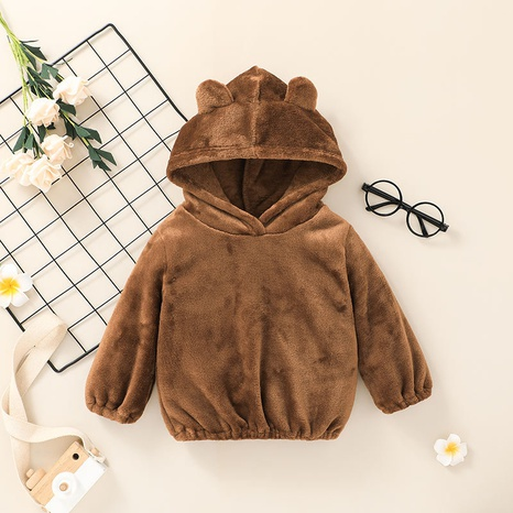 Nihaojewelry children's cute brown hooded sweatershirt wholesale  NHLF384509's discount tags