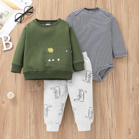 wholesale Dragón de dibujos animados de manga larga suéter para niños pantalones de mameluco a rayas conjunto de tres piezas nihaojewelry NHLF384515's discount tags