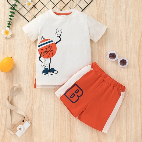wholesale Moda de manga corta para niños, camiseta deportiva, pantalones cortos, traje de dos piezas, nihaojewelry NHLF384520's discount tags