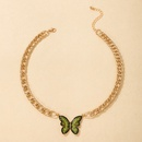 Nihaojewelry wholesale jewelry new style green full diamond butterfly pendant thick chain necklace NHGY385226