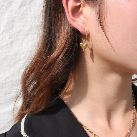 vente en gros bijoux pendentif en forme de coeur cubique boucles d'oreilles en acier inoxydable Nihaojewelry NHJIE384716's discount tags