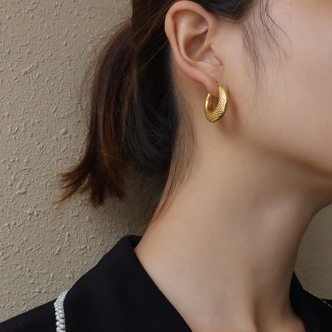 vente en gros bijoux boucles d'oreilles en acier inoxydable motif serpent en forme de C Nihaojewelry NHJIE384718's discount tags
