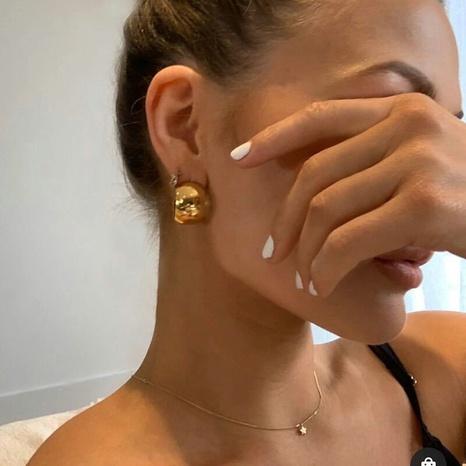 vente en gros bijoux boule géométrique boucles d'oreilles en acier inoxydable en forme de C Nihaojewelry NHJIE384721's discount tags