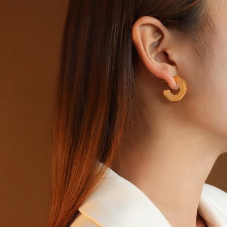 vente en gros bijoux boucles d'oreilles pentagonales géométriques en acier inoxydable Nihaojewelry NHJIE384722's discount tags