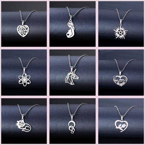 Al por mayor joyería flor corazón colgante collar de acero inoxidable nihaojewelry NHAC384737's discount tags