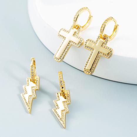 Nihaojewelry bijoux en gros croix de foudre coréenne boucles d'oreilles en zircon incrusté de cuivre plaqué or NHYIS384775's discount tags