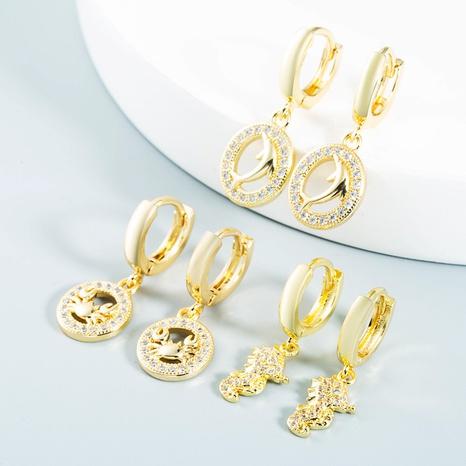 wholesale bijoux creux dauphin hippocampe crabe cuivre zircon boucles d'oreilles Nihaojewelry NHYIS384779's discount tags
