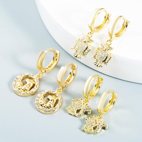 wholesale bijoux creux hibou léopard écureuil boucles d'oreilles en cuivre Nihaojewelry NHYIS384780's discount tags