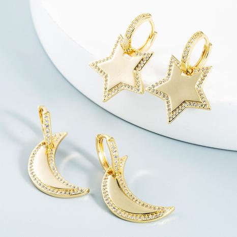 vente en gros bijoux étoiles géométriques boucles d'oreilles en cuivre lune Nihaojewelry NHYIS384781's discount tags