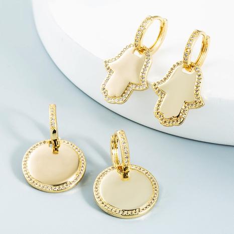 vente en gros bijoux boucles d'oreilles en cuivre palmier rond géométrique Nihaojewelry NHYIS384785's discount tags