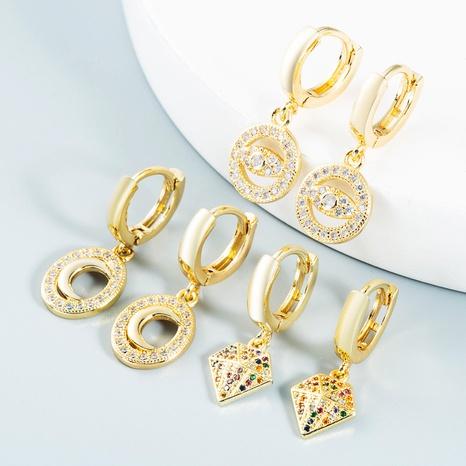 wholesale bijoux yeux creux lune triangle cône boucles d'oreilles en cuivre Nihaojewelry NHYIS384787's discount tags
