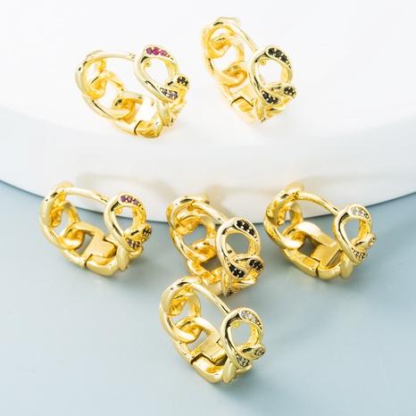 vente en gros bijoux chaîne torsadée conception simple boucles d'oreilles en cuivre zircon Nihaojewelry NHYIS384788's discount tags