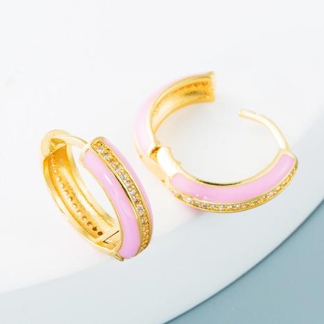vente en gros bijoux goutte d'huile colorée boucles d'oreilles en cuivre zircon en forme de C Nihaojewelry NHYIS384789's discount tags
